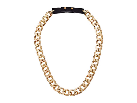 Steve Madden Curb Chain Leather Strap Necklace - Gold/Black