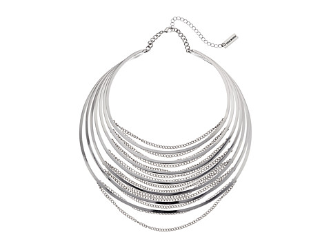 Steve Madden Multi Row Collar with Chain Choker Necklace - Rhodium