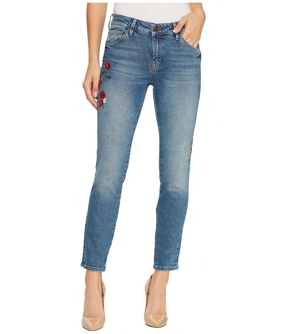 Mavi Jeans Adriana Mid-Rise Super Skinny Ankle in Mid Flower Embroidery (Mid Flower Embroidery) Women