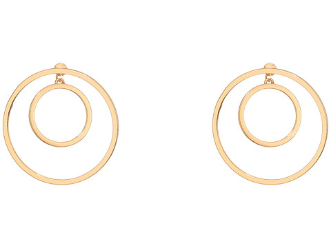 Steve Madden Double Ring Front to Back Earrings - Gold