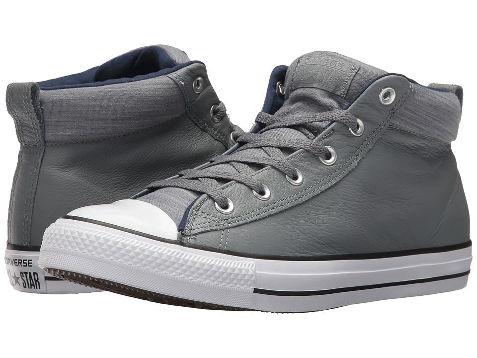 Converse Chuck Taylor(r) All Star(r) High Street Leather w/ Fleece Mid (Cool Grey/Midnight Navy) Men