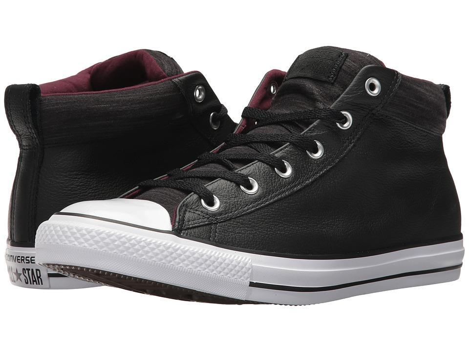 Converse Chuck Taylor(r) All Star(r) High Street Leather w/ Fleece Mid (Black/Dark Sangria/White) Men