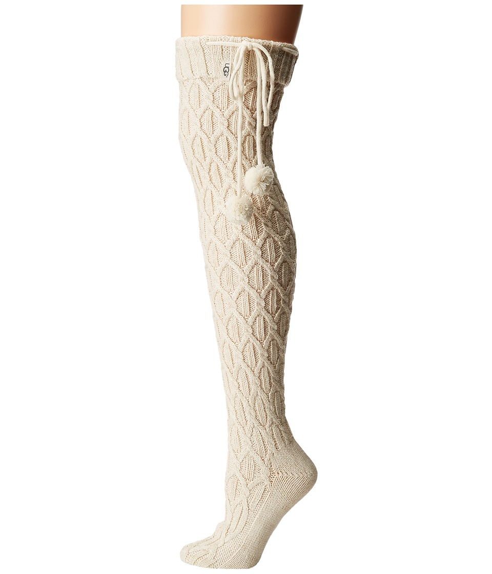 Ugg Sparkle Cable Knit Socks (Cream/Gold) Women's Thigh H...