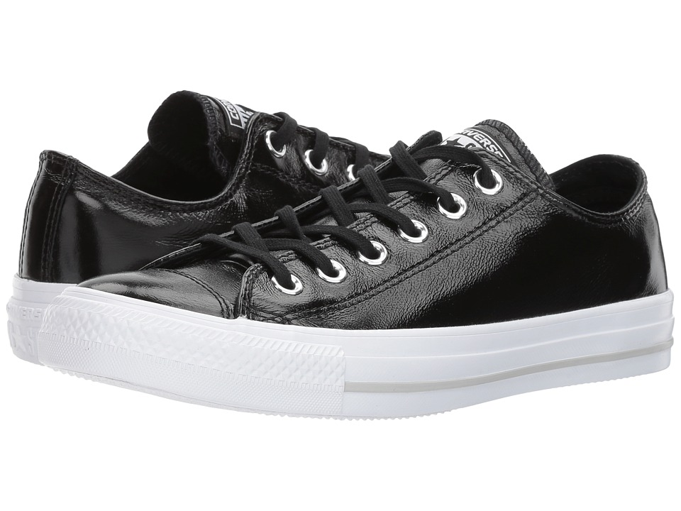 Converse Chuck Taylor(r) All Star(r) Crinkled Patent Leather Ox (Black/Black/White) Women