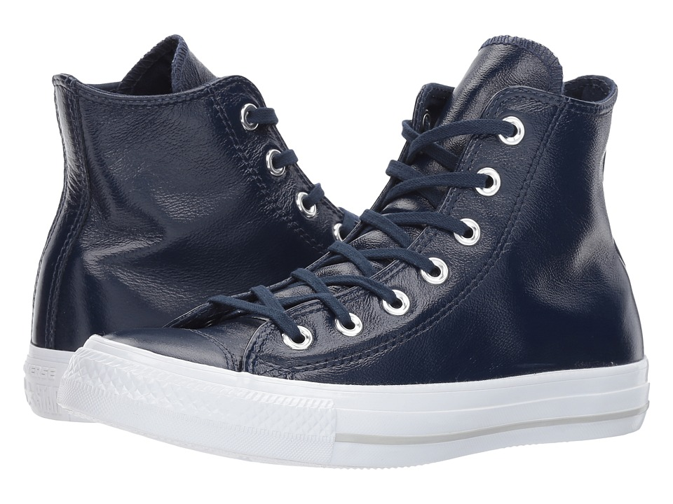 Converse Chuck Taylor(r) All Star(r) Crinkled Patent Leather Hi (Midnight Navy/Midnight Navy/White) Women