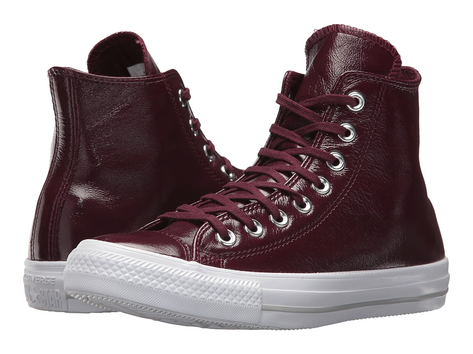 Converse Chuck Taylor(r) All Star(r) Crinkled Patent Leather Hi (Dark Sangria/Dark Sangria/White) Women