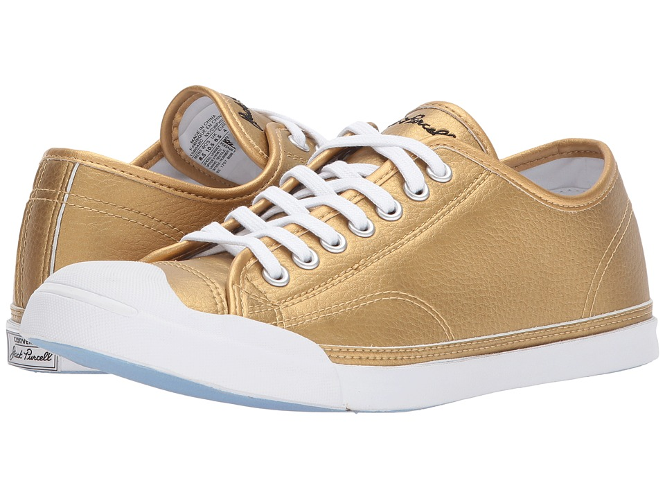 Converse Jack Purcell(r) LP Metallic Leather Ox (Gold/White/White) Classic Shoes
