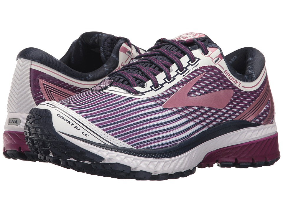 BROOKS Ghost 10 (White/Purple/Rose) Women's Running Shoes