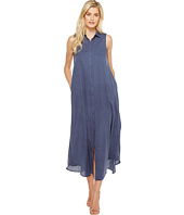 HEATHER - Fonda Twill Voile Maxi Shirtdress