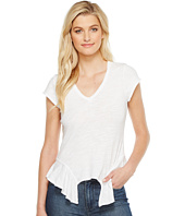 HEATHER - Cleo Cotton Slub V-Neck Peplum Tee