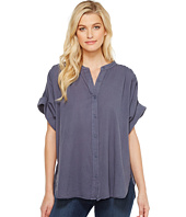 HEATHER - Twill Voile Cuffed Sleeve Button Down Top