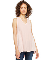 HEATHER - Cotton & Gauze V-Neck Panel Tank Top