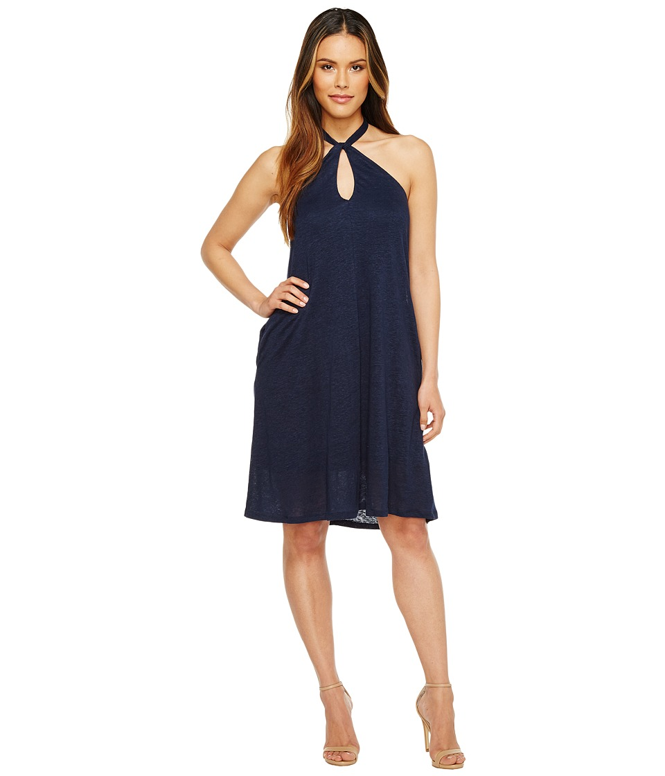 HEATHER - Krissy Linen Keyhole Halter Dress