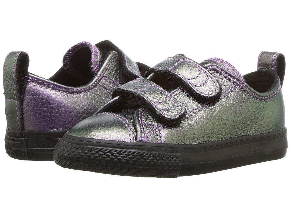 Converse Kids Chuck Taylor All Star Iridescent Leather 2V Ox (Infant/Toddler) (Violet/Black/Black) Girl's Shoes