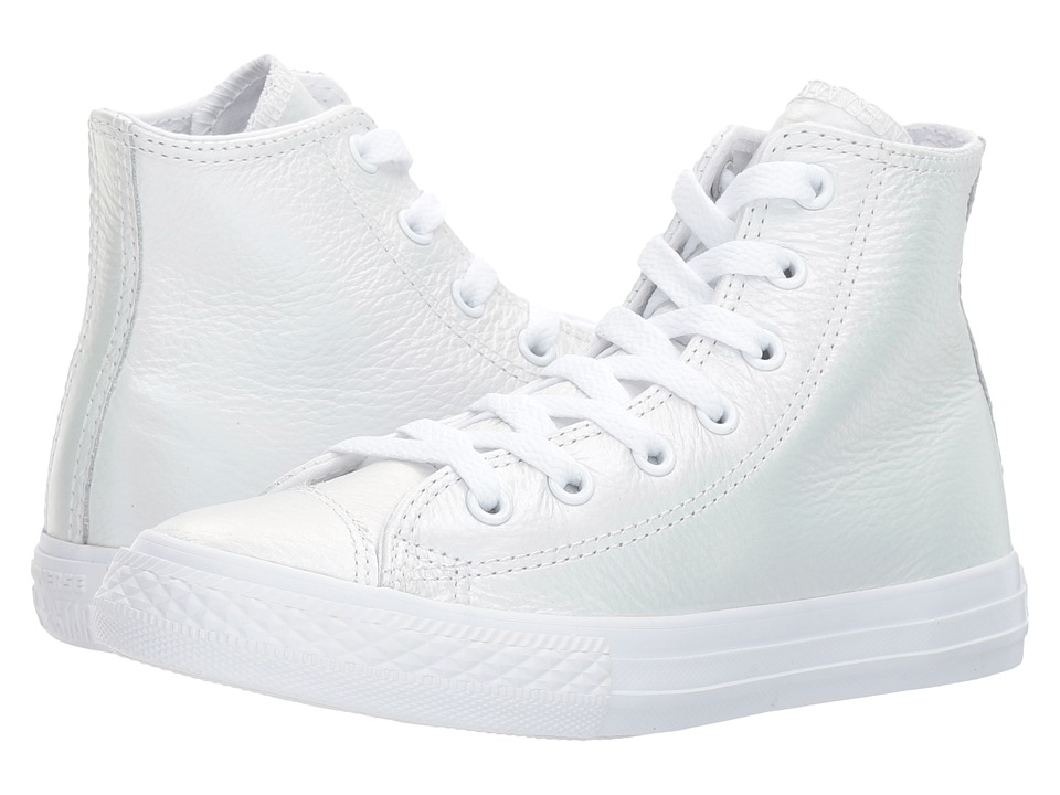 Converse Kids Chuck Taylor All Star Iridescent Leather Hi (Little Kid) (White/White/White) Girl's Shoes