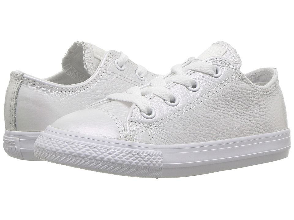 Converse Kids Chuck Taylor All Star Iridescent Leather Ox (Infant/Toddler) (White/White/White) Girl's Shoes
