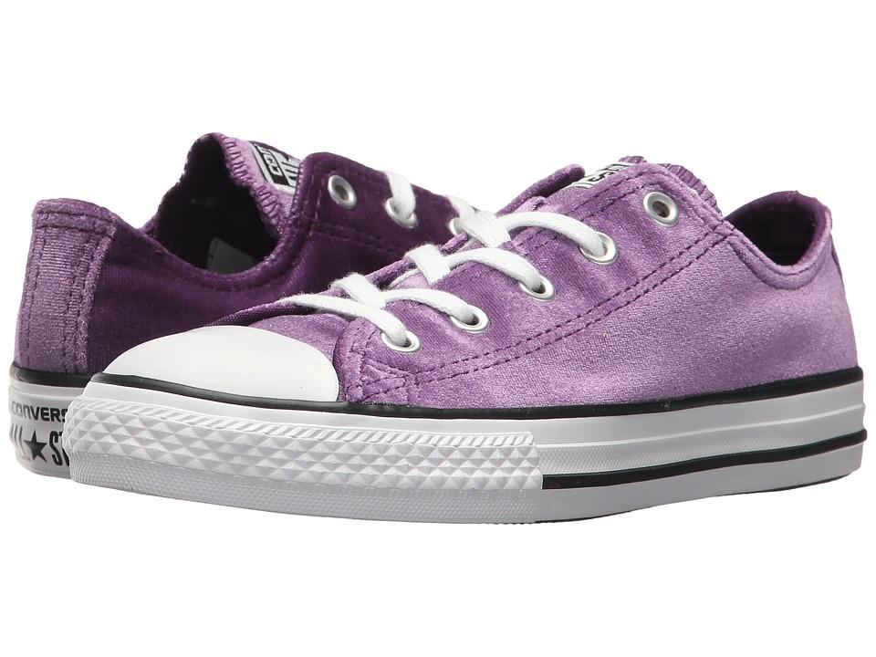 Converse Kids Chuck Taylor All Star Velvet Ox (Little Kid/Big Kid) (Night Purple/White/White) Girls Shoes