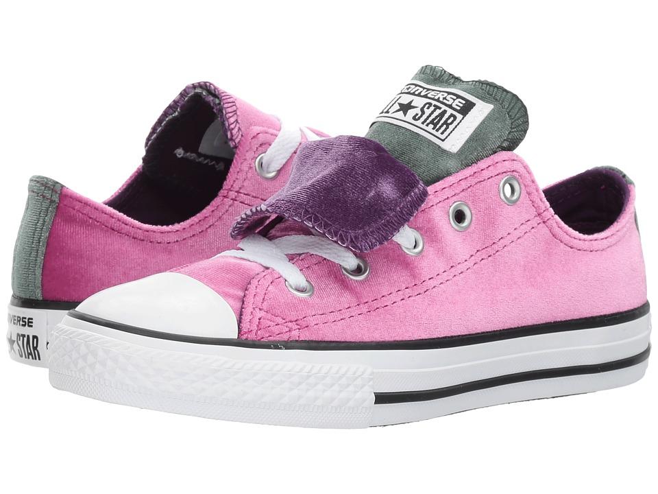 Converse Kids Chuck Taylor All Star Velvet Double Tongue Ox (Little Kid/Big Kid) (Pink Sapphire/Deep Emerald) Girls Shoes