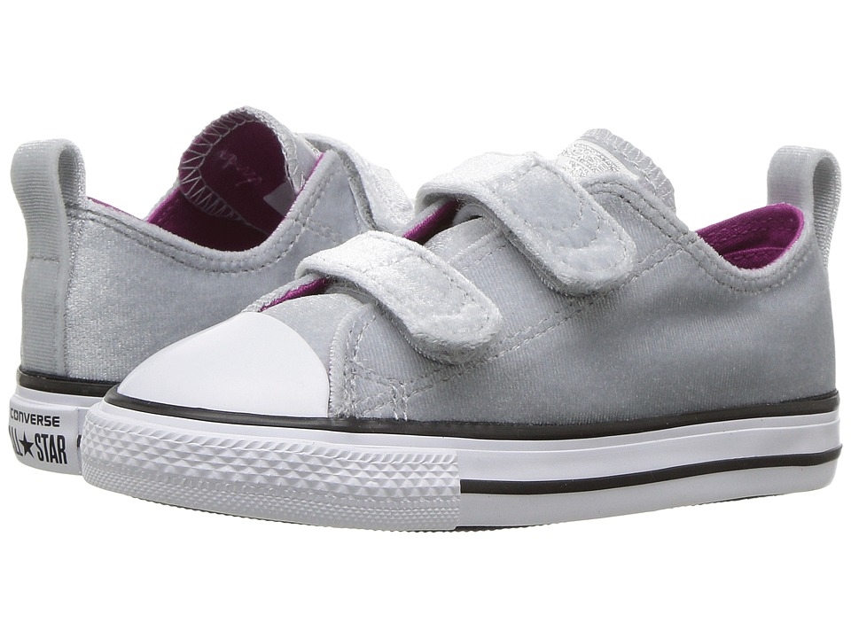 Converse Kids Chuck Taylor All Star Velvet 2V Ox (Infant/Toddler) (Wolf Grey/Pink Sapphire/White) Girls Shoes