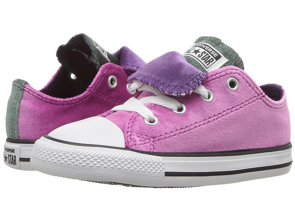 Converse Kids Chuck Taylor All Star Velvet Double Tongue Ox (Infant/Toddler) (Pink Sapphire/Deep Emerald) Girls Shoes