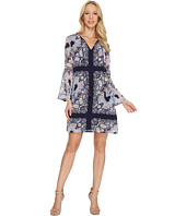 Vince Camuto - Printed Chiffon Shift Dress w/ Bell Sleeve