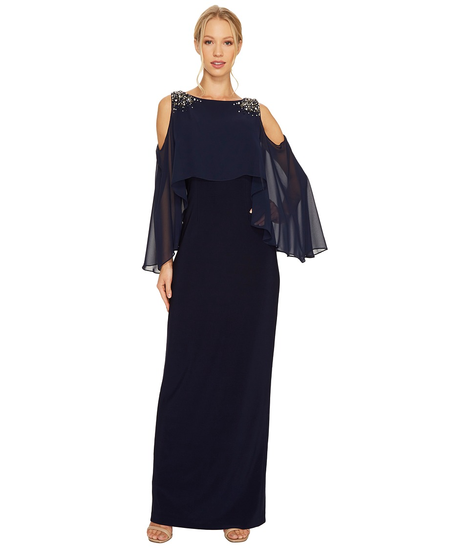 Vince Camuto Cold Shoulder Navy Cape Gown (Navy) Women