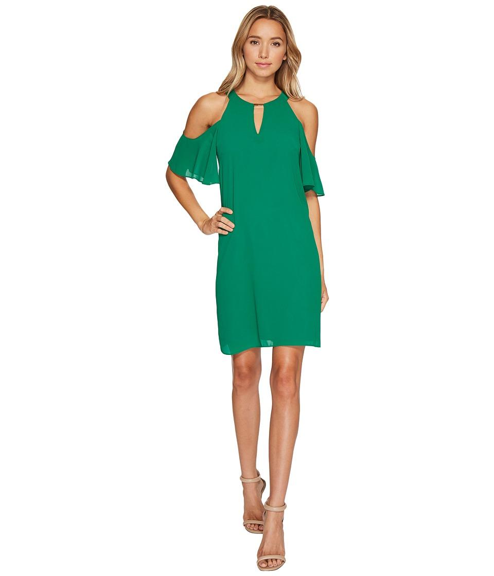 Vince Camuto Chiffon Cold Shoulder Float Dress (Green) Women