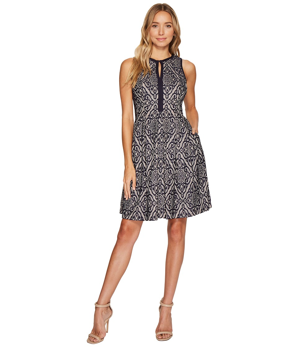 Vince Camuto Lace Sleeveless Fit Flare Dress w/ Piping (Navy) Women