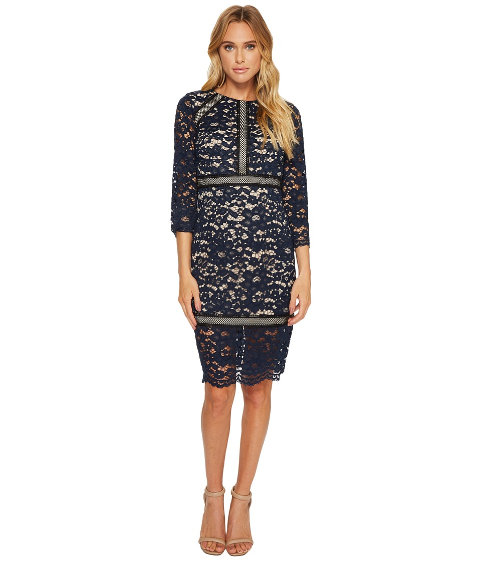 Vince Camuto Lace 3/4 Sleeve Bodycon Dress (Navy) Women