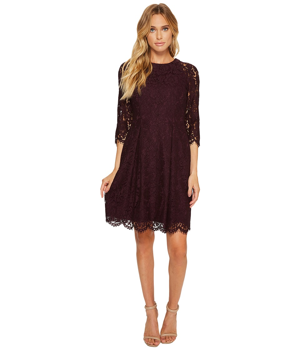Vince Camuto Lace Three Quarter Sleeve Fit Flare Dress (Aubergine) Women