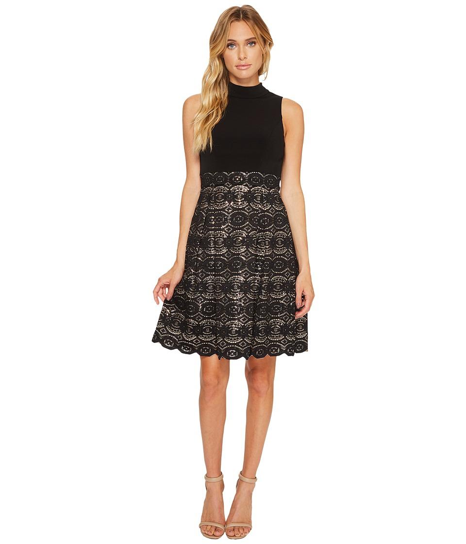 Vince Camuto Ity Mock Neck Twofer w/ Bonded Lace Skirt (Black) Women