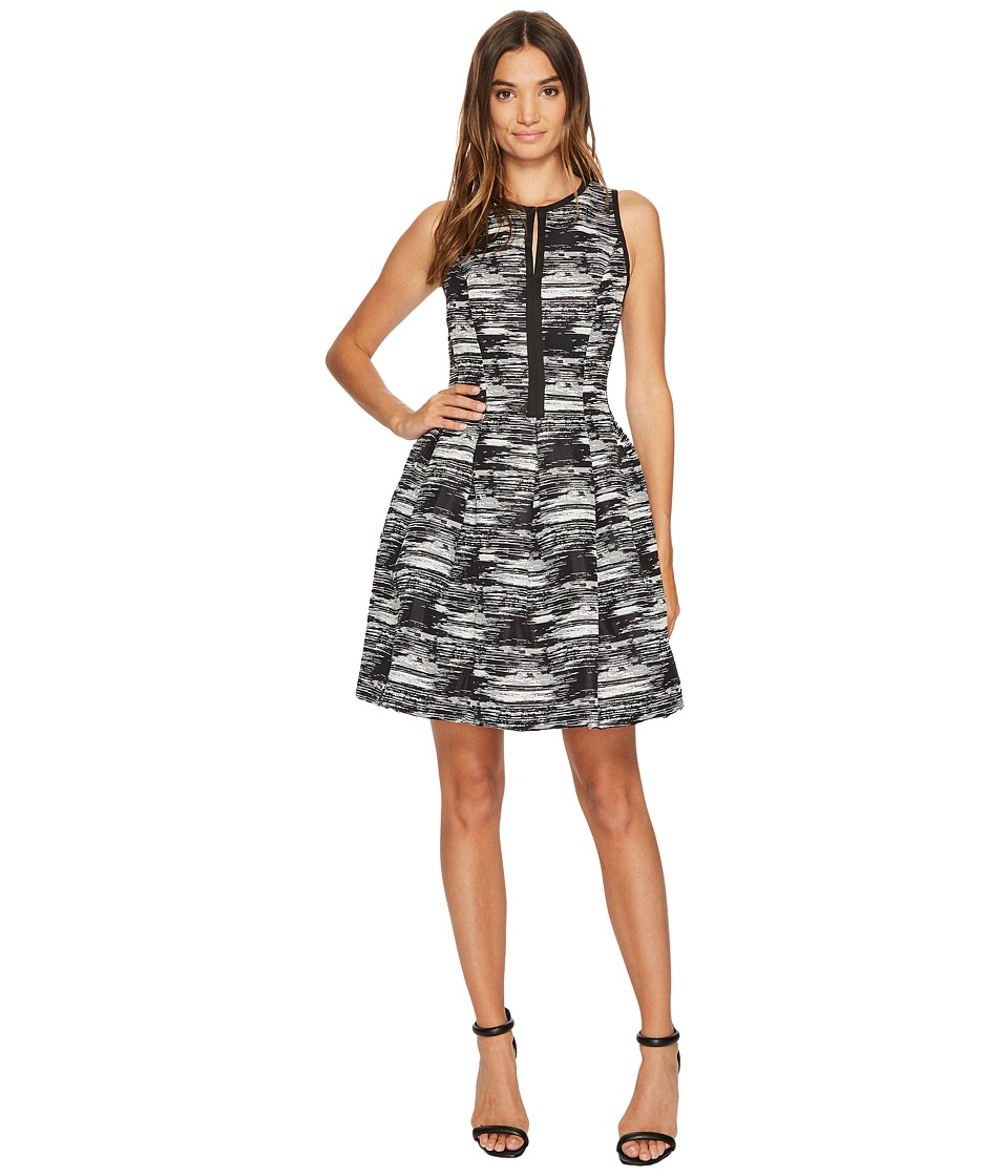 Vince Camuto Jacquard Sleeveless Fit Flare Dress (Black Multi) Women