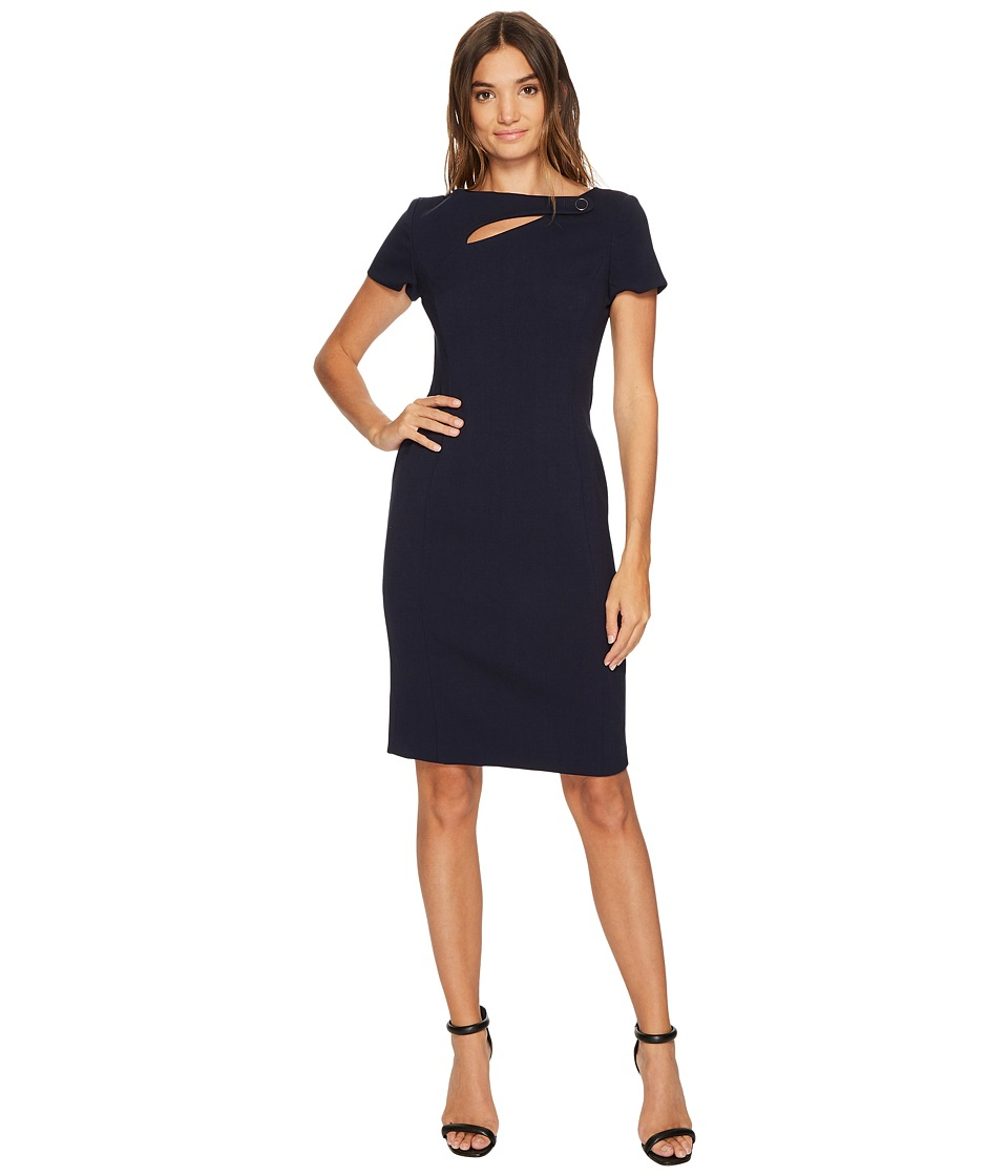 Vince Camuto Crepe Short Sleeve Bodycon w/ Cut Out (Navy) Women