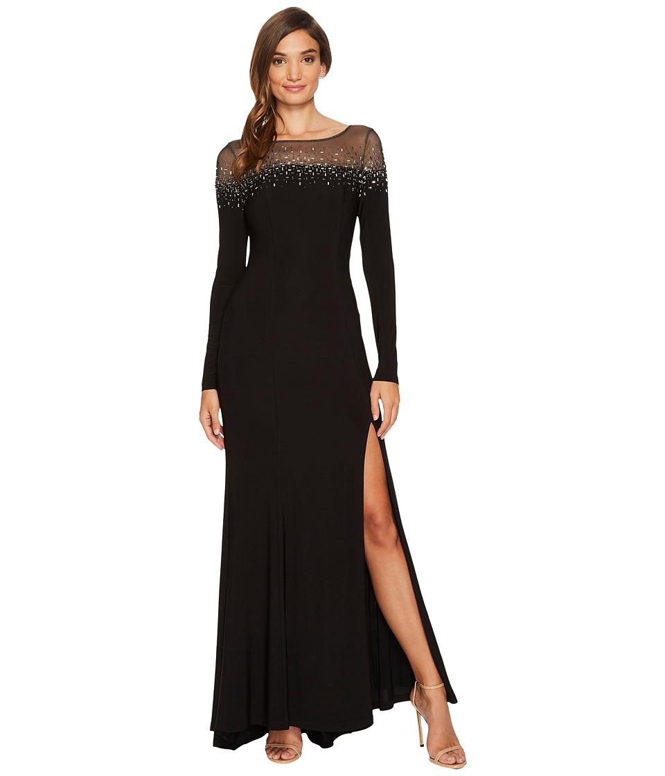 Vince Camuto Long Sleeve Gown w/ Heatset Embellishment (Black) Women
