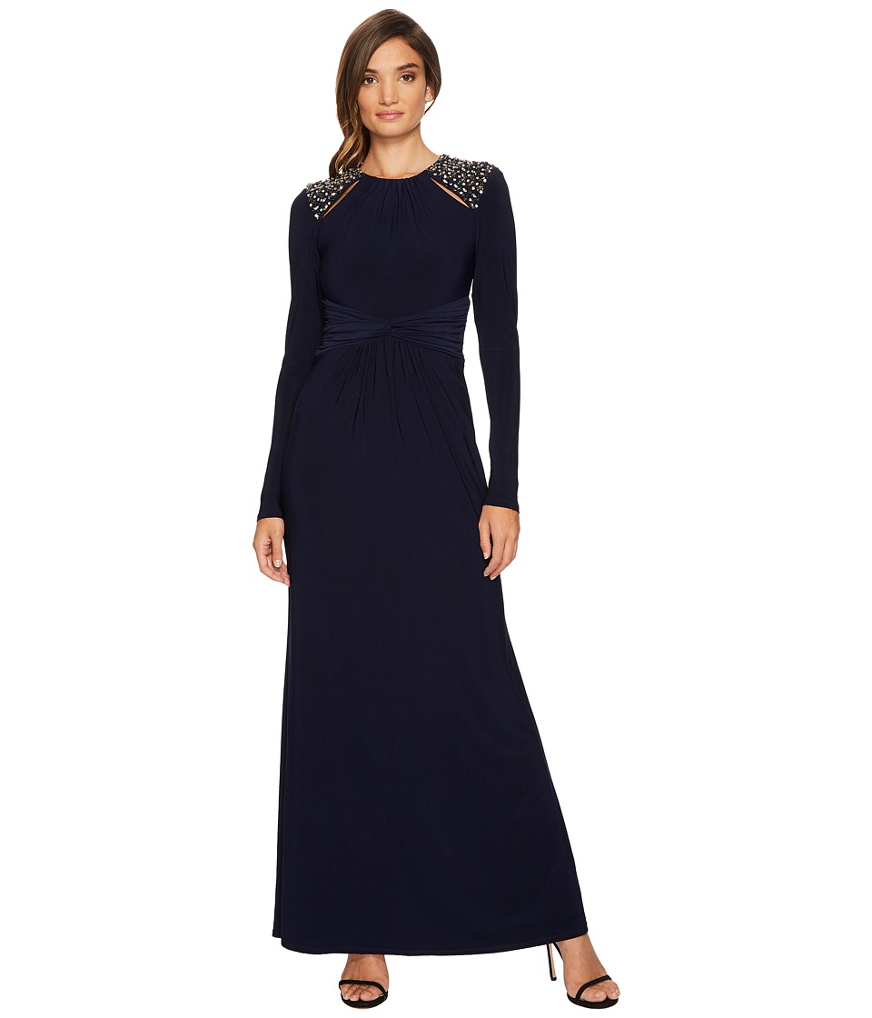Vince Camuto Long Sleeve Gown w/ Ruched Waist (Navy) Women