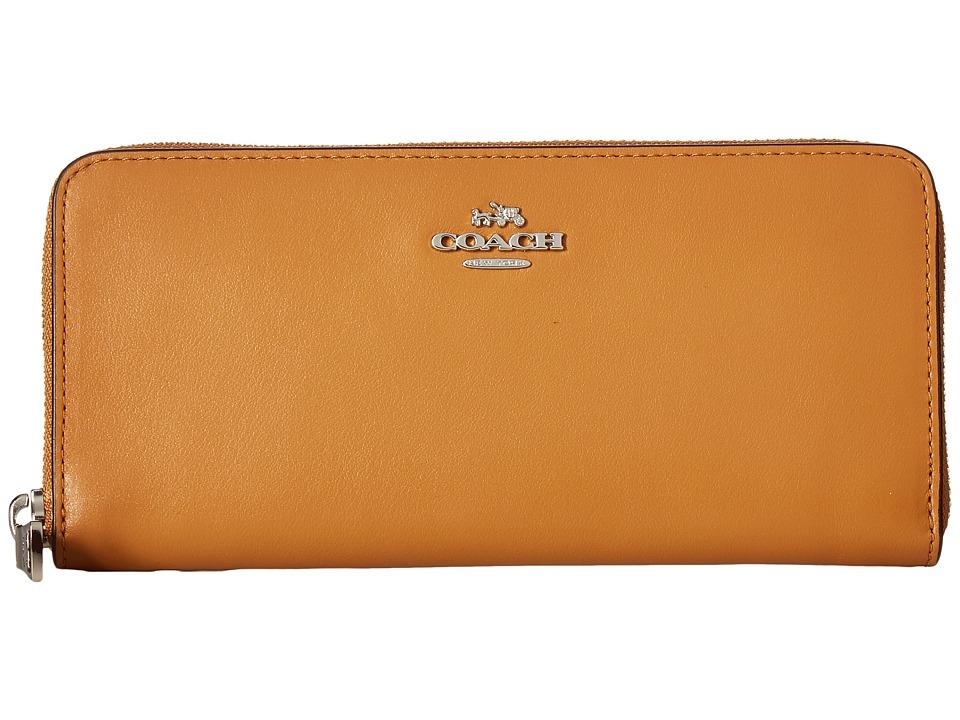 COACH - Smooth Leather Small Accordion Zip (SV/Light Saddle) Handbags