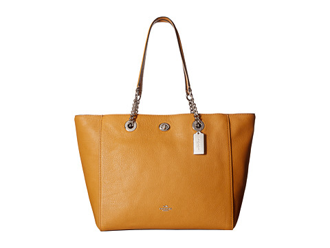 COACH Pebbled Turnlock Chain Tote - SV/Light Saddle