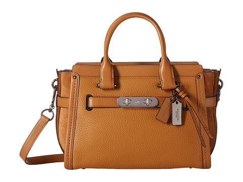 COACH Mixed Leather Swagger 27 - Dk/Light Saddle