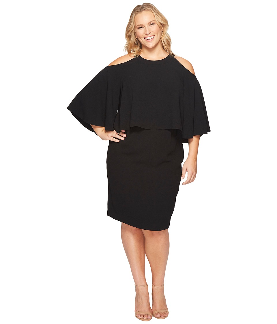 Adrianna Papell Adrianna Papell - Plus Size Textured Crepe Cold Shoulder Sheath