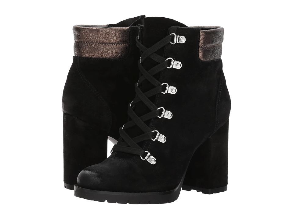 Sam Edelman Carolena (Black/Pewter Velutto Suede Leather/Metallic Moto Leather) Women