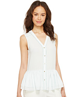 Ivanka Trump - Woven Sleeveless Peplum Button Down Blouse