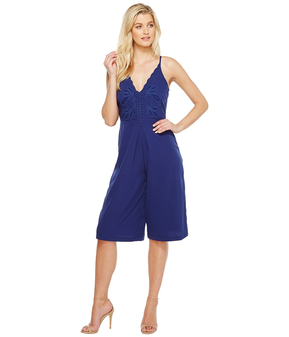 Adelyn Rae - Emelia Woven Culotte (Navy) Womens Jumpsuit & Rompers One Piece