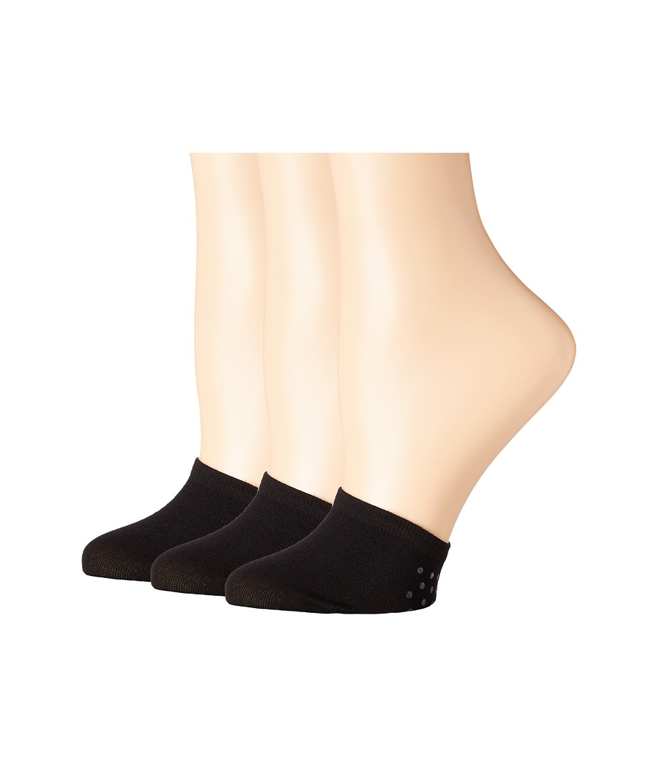 HUE Toe Cover with Grippers 3-Pack (Black) Women's Crew C...
