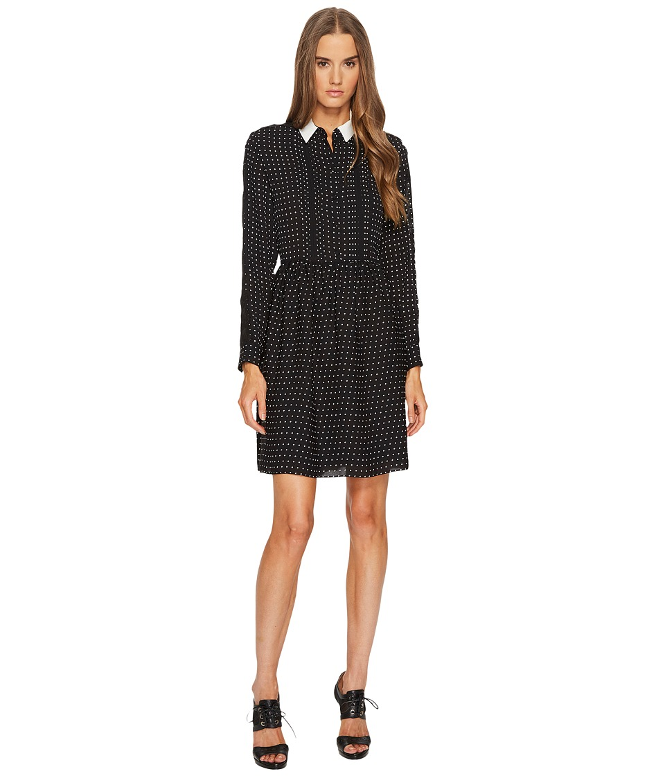 The Kooples - Shirt-Style Dress with Lace Stripe on the Sleeves (Black) Womens Dress