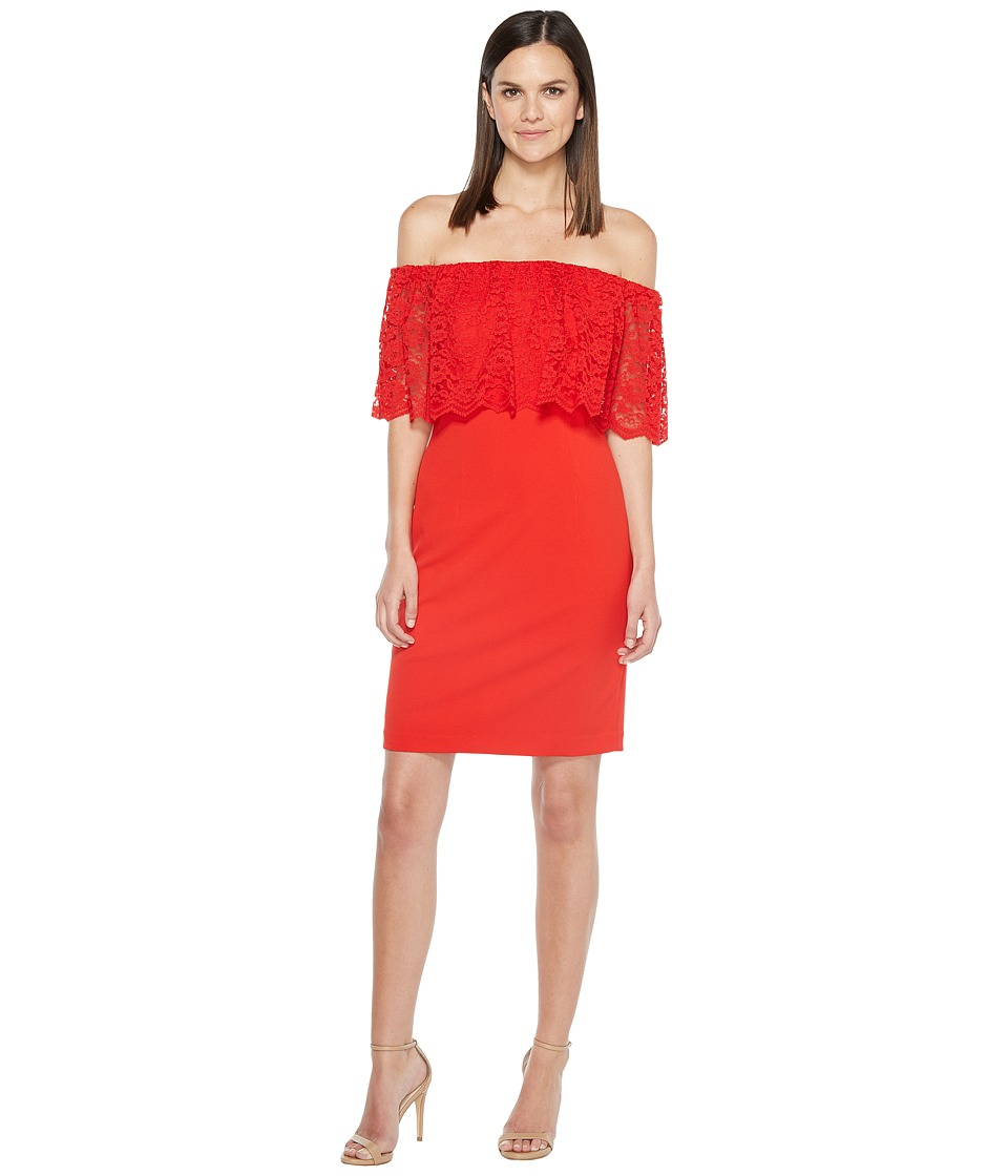 Aidan Mattox Off the Shoulder Lace Cocktail (Red) Women
