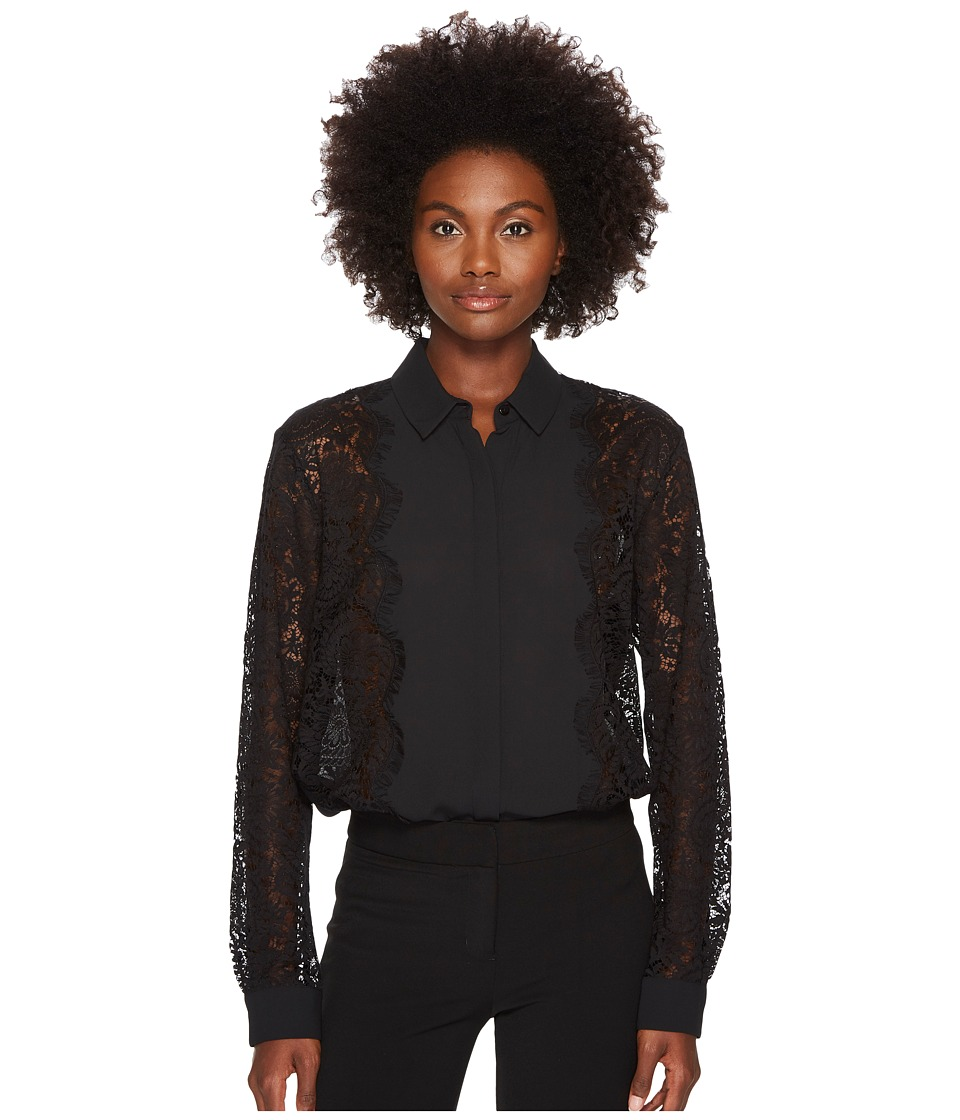 The Kooples - Dull Matt Black Shirt with Lace Sleeve and Bow at the Neck