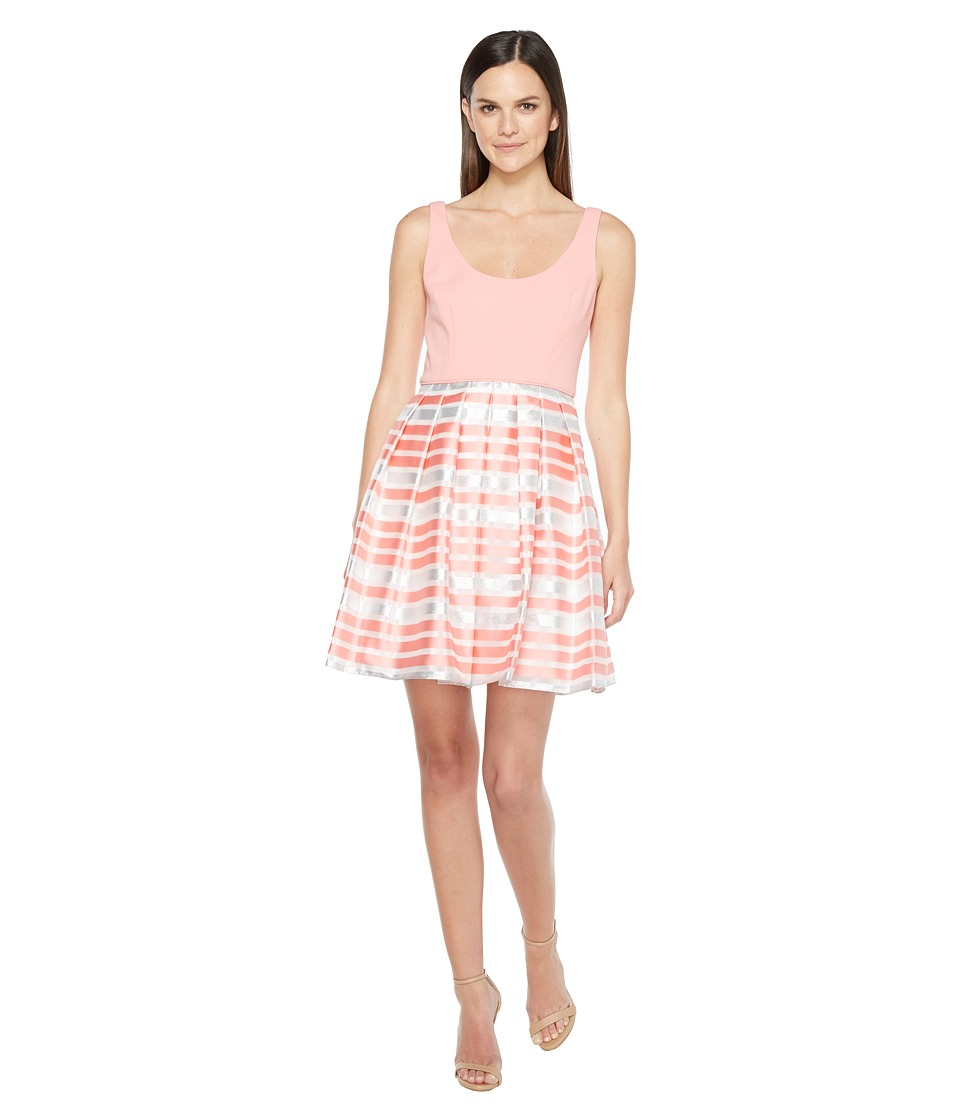 Aidan Mattox Scoop Neck Shadow Stripe Dress (Coral) Women