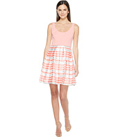 Aidan Mattox - Scoop Neck Shadow Stripe Dress