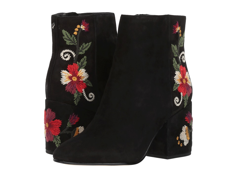 Vintage Style Shoes, Vintage Inspired Shoes Sam Edelman - Tavi Black Embroidered Suede Womens Dress Zip Boots $179.95 AT vintagedancer.com
