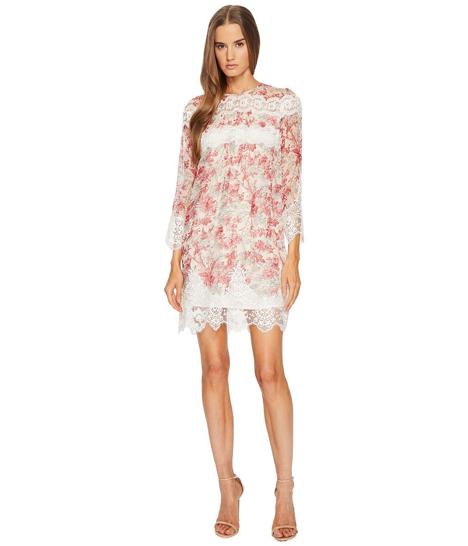 The Kooples Long Sleeve Printed Dress (Ecru) Women